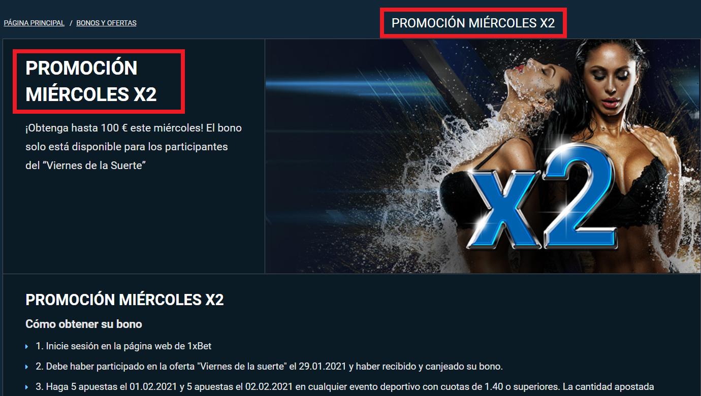 1xbetPROMOCIÓN MIÉRCOLES X2